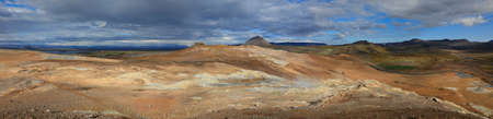 crater lake: Panoramic view of beautiful Iceland landscape with  Myvatn Lake in northern  Iceland Stock Photo