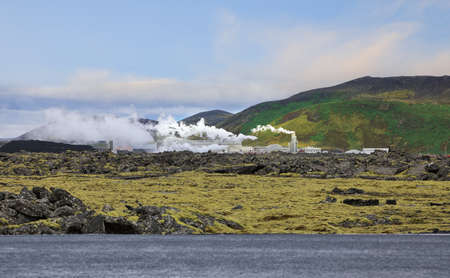 Landscape of geothermal power station and geothermal sources  in Iceland Stock Photo