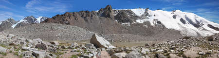 Amazing panoramic view of the glacier T 1 on a sunny summer day, Tien Shan mountains, Kazakhstan