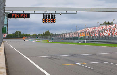 Finishing line with the finish on the electronic display and the lights on the race track