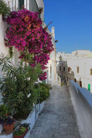 Typical narrow alleyway in a white city of Ostuni in Apulia, Italy