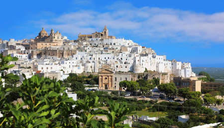 Panoramic view of the fantastic white city of Ostuni in Puglia, Italy