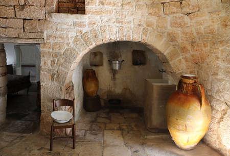 Interior of a traditional Trullo house in Alberobello. Apulia, Italy