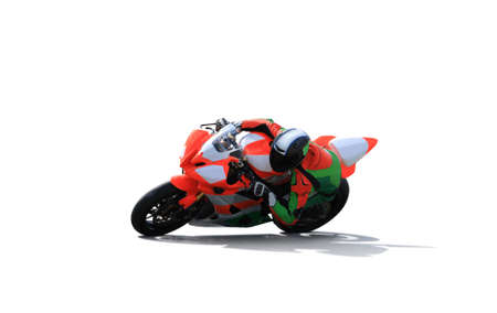 Racing bike rider leaning into a fast corner on the race track isolated on a white background