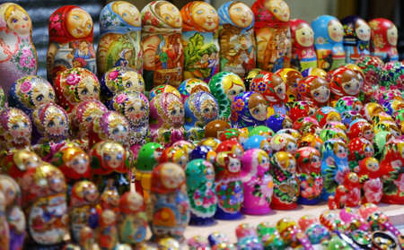 Full frame background of colorful Russian dolls