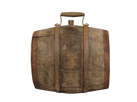 Vintage wooden barrel with metal rim and handle and stopper isolated on white background
