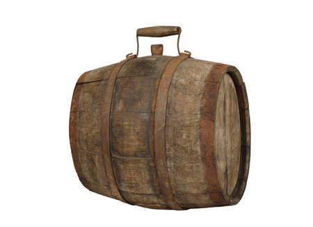Old wooden barrel with metal rim and handle and stopper isolated on white background 写真素材