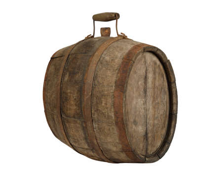 Ancient wooden barrel with metal rim and handle and stopper isolated on white background 写真素材