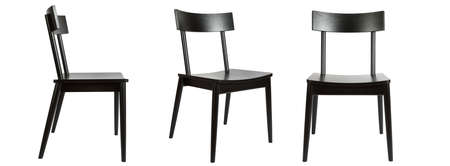 Set of three black wooden chairs in different view angles isolated on a white background. Series of furniture