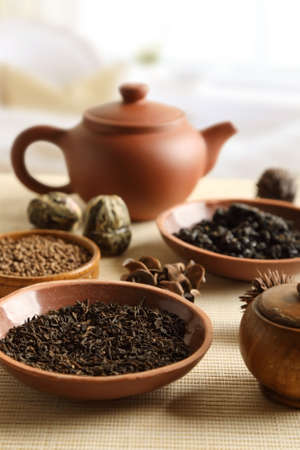 Set of various types of tea on the table