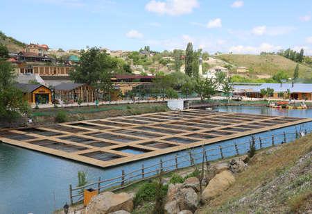 Fish farm for artificial breeding of salmon in Adygea Republic, Russia