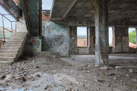 Abandoned building construction interior. Post apocalyptic landscape.