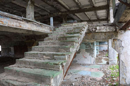 Staircase in an abandoned complex. Scary place