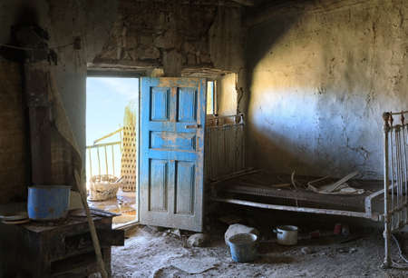Interior of living room of an abandoned house