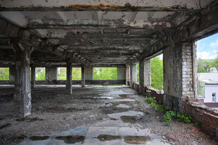 Empty interior of an old abandoned industrial building