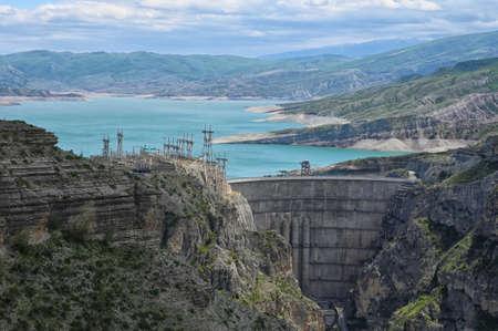 Dam of Chirkey hydroelectric power station in Dagestan, North Caucasus of Russia Zdjęcie Seryjne