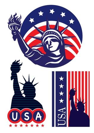 동상: 자유의 미국의 상징 아이콘 동상 일러스트