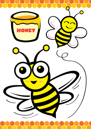 Pure Honey and Bee Vector