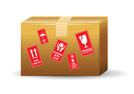 brown box: Brown Box with icons used on containers and packaging