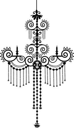 Retro chandelier silhouette Vector