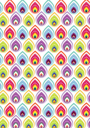 Colorful indian style pattern wallpaper Vector