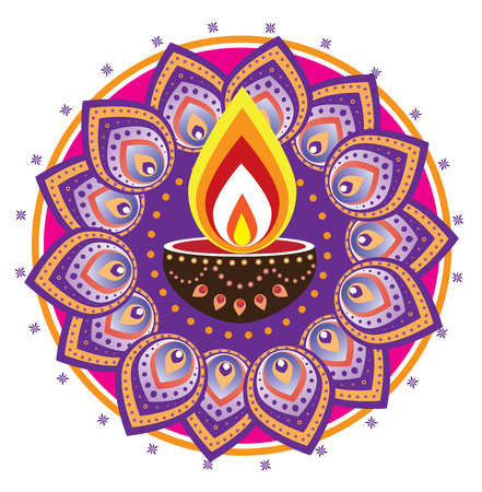 an oil lamp: luz de las velas Diwali