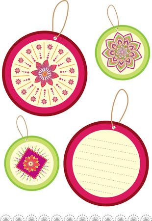 Flower Round Label  Vector