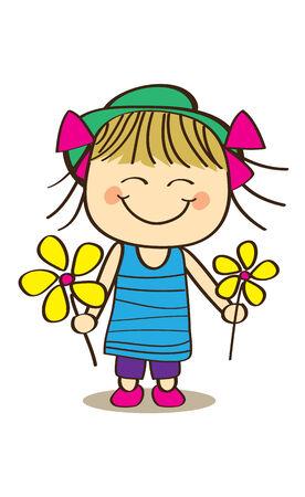 Cute little girl hold flower