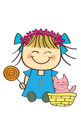 Cute little girl and kitty Vector