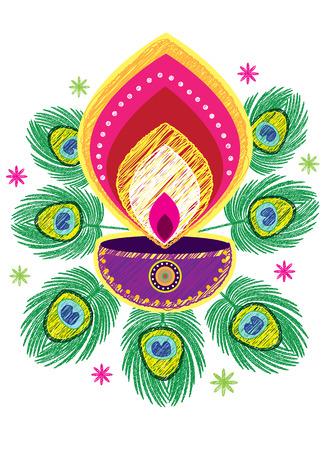 Diwali Candle Light Sketch Pattern