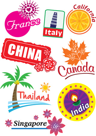 world travel: World country travel landmark icon set