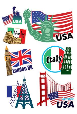 World country travel landmark icon set Vector