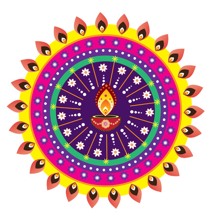 Colorful indian style pattern icon Vector
