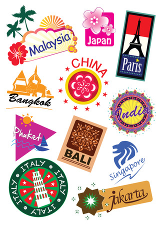 World travel sticker icon set Illusztráció