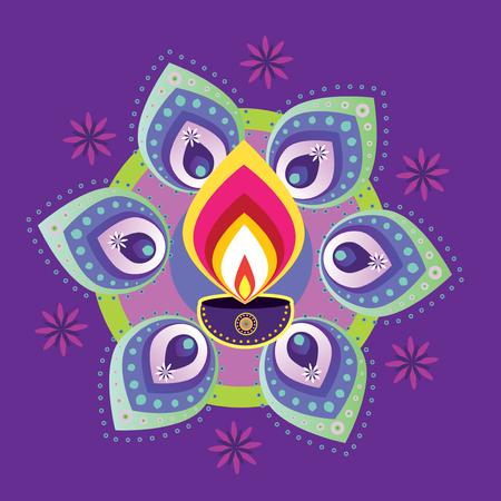 indian light: Indian A�o Nuevo - luz de la vela de Diwali Vectores