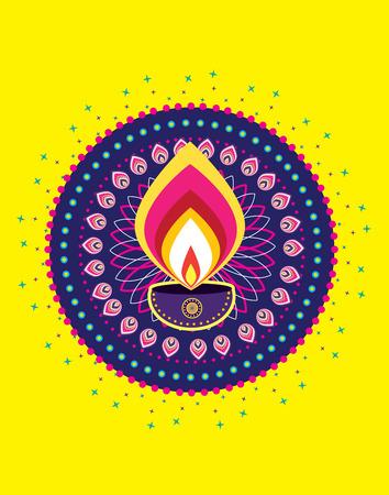 indian light: Indian A�o Nuevo - luz de las velas Diwali Vectores