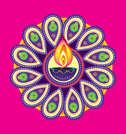 candle light: Diwali candle light, indian new year element Illustration