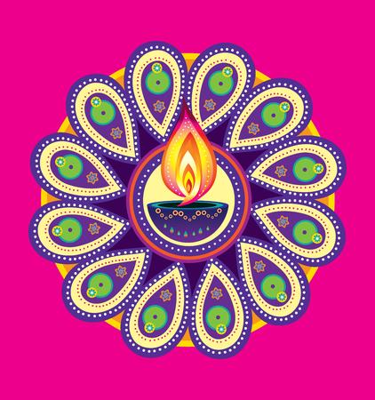 Diwali candle light, indian new year element Illustration
