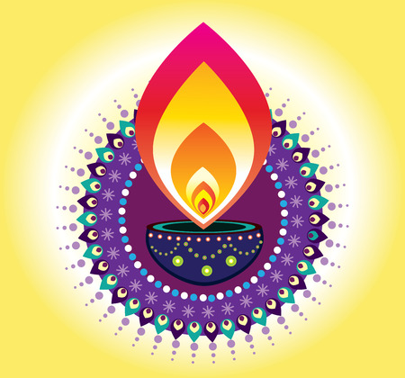 indian light: Luz de la vela de Diwali, nuevo elemento indio a�os Vectores