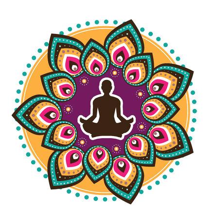 yoga icon: round circle icon for yoga lout sitting posture illustration style