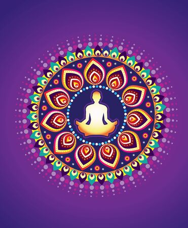 breathing exercise: round circle icon for yoga lotus sitting posture