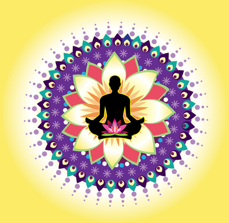 Round circle icon for yoga lotus sitting posture