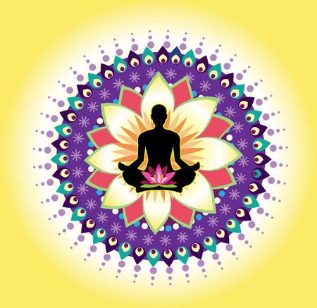 yoga position: Round circle icon for yoga lotus sitting posture