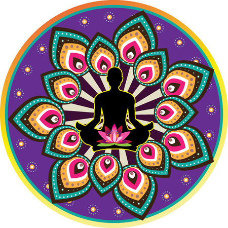 Round circle icon for yoga lotus sitting posture Vector