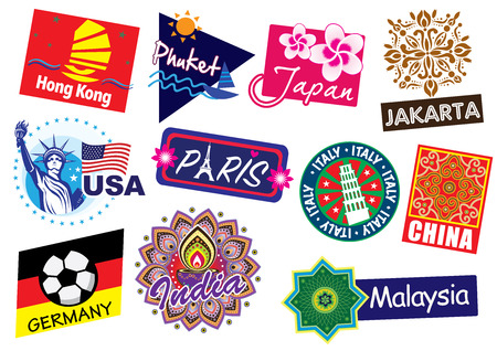 World country travel icon set