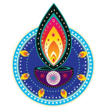 Indian new year element- diwali candle light Vektorové ilustrace