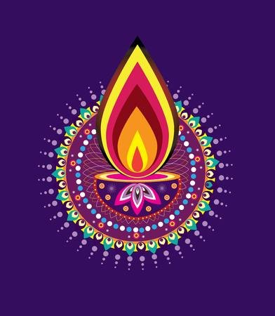 vector lamp: Diwali candle light