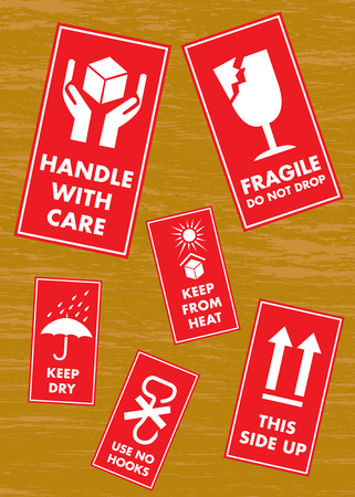 Fragile Handle with Care Label Sticker Set Vettoriali