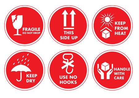 Fragile Handle with Care Label Sticker Set Иллюстрация