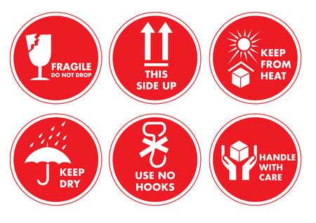 Fragile Handle with Care Label Sticker Set Illustration